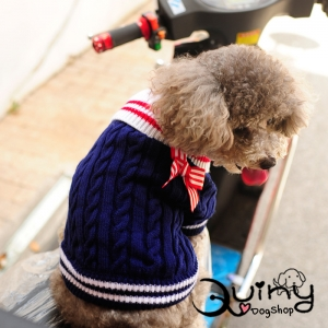 เสื้อสุนัข ถัก ติดโบว์แดง สีน้ำเงิน
