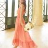 ชุดกระโปรงยาวสวยๆ สีส้มเข้ม ผ้าลูกไม้