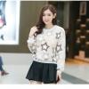 เสื้อแฟชั่นเกาหลีน่ารักๆ สีเบจ พิมพ์ลายเก๋ๆ ผ้าขนนุ่มสบาย คอกลม แขนยาว เอวจั๊ม