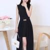 ชุดเดรสยาวเกาหลี สีดำเข้ม ผ้ายืด