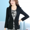 เสื้อสูททำงานผู้หญิง สีดำ ทรงเข้ารูป คอปก แขนยาว ผ้าโพลีเอสเตอร์ มีซับใน ไซส์ M