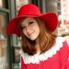 หมวกปีกกว้างเที่ยวทะเล สีแดง ผ้าสักหลาด ทรงสวย