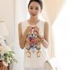 เสื้อแฟชั่นเกาหลี สีขาว ผ้าชีฟอง คอกลม แขนกุด พิมพ์ลายสวยๆ