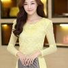 เสื้อทำงานสีเหลือง ผ้าลูกไม้ คอกลม แขนยาวเสื้อผ้าซีทรู เนื้อผ้ายืดเข้ารูป