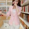 เสื้อสูททำงานผู้หญิงสวยๆ สีชมพูโอรส ผ้าลูกไม้ผสมเลื่อมทอง ทรงเข้ารูป แขนยาว แต่งกระเป๋าหลอก ขนาดไซส์ L