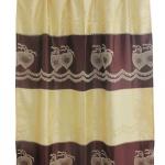 ผ้าม่านเดี่ยว Single ลายดอกหัวใจใหญ่ สีน้ำตาล (Curtain-s 8)