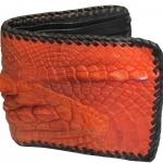 กระเป๋าสตางค์ หนังจระเข้ ลายหนังตัดต่อ 3D สีส้ม/Wallet Color (Wcd-5)