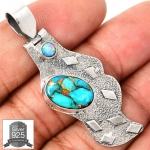 ▽จี้เงินแท้ 925 - Copper Blue Turquoise & Fire Opal