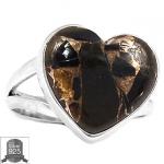 ▽แหวนเงินแท้ 925 - Heart Copper Black Turquoise (size 7)