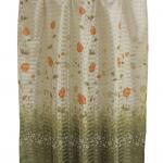 ผ้าม่านเดี่ยว Single ลายดอกกุหลาบวิ้ง สีเขียว (Curtain-s 17)