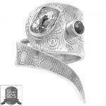 ▽แหวนเงินแท้ 925 - HERKIMER DIAMOND & BLACK ONYX (size 6)