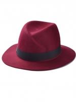 หมวกแฟชั่นทรงปานามา สีไวน์แดง ผ้าสักหลาด คาดสีดำ ประดับตัว M