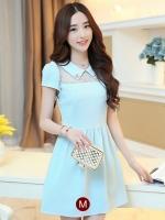 ชุดเดรสสั้นน่ารักๆสดใสสไตล์แฟชั่นเกาหลี สีฟ้า คอปกช่วงไหล่แต่งด้วยผ้าซีทรู แขนสั้น เอวเข้ารูป ผ้าคอตตอนเนื้อผ้ายืดได้ ซิปข้าง ไซส์ M