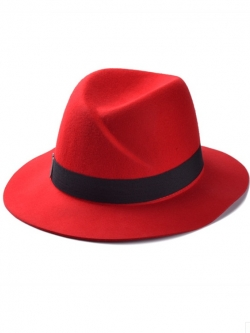 หมวกแฟชั่นทรงปานามา สีแดง ผ้าสักหลาด