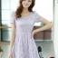 ชุดเดรสทำงานแฟชั่นเกาหลี สีม่วง ผ้าลูกไม้ซับใน คอกลม แขนสั้น ซิปข้าง ไซส์ L