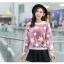 เสื้อแฟชั่นเกาหลีน่ารักๆ สีม่วง พิมพ์ลายเก๋ๆ ผ้าขนนุ่มสบาย คอกลม แขนยาว เอวจั๊ม thumbnail 2