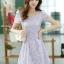 ชุดเดรสทำงานแฟชั่นเกาหลี สีม่วง ผ้าลูกไม้ซับใน คอกลม แขนสั้น ซิปข้าง ไซส์ L thumbnail 4