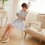 ชุดเดรสสั้นเกาหลีน่ารักลายตาราง สีฟ้าขาว สายเย็บระบายยืดได้ แขนจั๊มแบบแขนตุ๊กตา เอวสม๊อก ผ้าโพลีเอสเตอร์ thumbnail 6