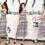 ชุดเดรสยาวแฟชั่นเกาหลี Maxi Dress สีเบจ น้ำเงิน พิมพ์ลายกราฟฟิค คอกลม แขนกุด เอวยืด ผ้าชีฟอง ซับใน thumbnail 2