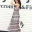 ชุดเดรสยาวแฟชั่นเกาหลี Maxi Dress สีเบจ น้ำเงิน พิมพ์ลายกราฟฟิค คอกลม แขนกุด เอวยืด ผ้าชีฟอง ซับใน thumbnail 5