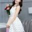 ชุดเดรสสั้นออกงาน ไปงานแต่งงาน น่ารักๆ สีครีมอ่อน ผ้า organza ปักลายดอกไม้ คอกลม แขนกุด กระโปรงทรงสุ่ม ซิปหลัง ซับในอย่างดี ไซส์ M thumbnail 6