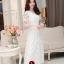 ชุดเดรสออกงานสวยหรูสไตล์เกาหลี สีขาว ผ้าซีทรูปักลายดอกไม้ คอกลม แขนสั้น ซิปข้าง ซับในอย่างดี ไซส์ L thumbnail 1