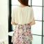 ชุดเดรสสั้นแฟชั่นเกาหลี สีเบจ กระโปรงลายดอกไม้สดใส เอวยืด มีสายผูกเอวน่ารักเก๋ๆ ผ้าชีฟอง ซับใน thumbnail 10