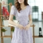 ชุดเดรสทำงานแฟชั่นเกาหลี สีม่วง ผ้าลูกไม้ซับใน คอกลม แขนสั้น ซิปข้าง ไซส์ L thumbnail 3