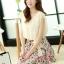 ชุดเดรสสั้นแฟชั่นเกาหลี สีเบจ กระโปรงลายดอกไม้สดใส เอวยืด มีสายผูกเอวน่ารักเก๋ๆ ผ้าชีฟอง ซับใน thumbnail 3