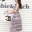 ชุดเดรสยาวแฟชั่นเกาหลี Maxi Dress สีเบจ น้ำเงิน พิมพ์ลายกราฟฟิค คอกลม แขนกุด เอวยืด ผ้าชีฟอง ซับใน thumbnail 3