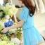 ชุดเดรสสั้นน่ารักๆ สีฟ้า ผ้าชีฟอง สกรีนตัวเลข คอกลม เอวยืด ซับใน ขนาดไซส์ L thumbnail 5