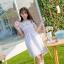ชุดเดรสสั้นแฟชั่นเกาหลีน่ารักๆ สีม่วง ผ้าแก้วผสมชีฟองมีซับใน หน้าอกสม๊อกยืด แต่งระบาย เอวยืด thumbnail 3