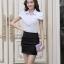 เสื้อเชิ๊ตทำงานผู้หญิง สีขาว คอปก แขนสั้น กระดุมผ่าหน้า ด้านหน้าผ้าลูกไม้ ด้านหลังเป็นผ้าชีฟอง thumbnail 4
