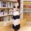 ชุดเดรสยาวแฟชั่นเกาหลี สีขาว-ดำ ผ้าชีฟอง คอกลม แขนกุด เอวยืด ซับใน ขนาดไซส์ L thumbnail 6