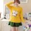 เสื้อกันหนาวแฟชั่นเกาหลี สีเหลือง คอกลม แขนยาว ลายนกฮูก ผ้าไหมพรมมีขน เนื้อผ้านุ่มใส่สบาย thumbnail 3