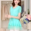 เสื้อแฟชั่นเกาหลี สีเขียวมิ้น ผ้าชีฟอง คอกลม แขนสั้น เอวสายรูด ปลายเสื้อเป็นผ้าแก้วเป็นระบายเก๋ๆ thumbnail 5