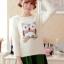 เสื้อไหมพรมกันหนาวแฟชั่นเกาหลี สีขาว คอกลม แขนยาว ลายนกฮูก ผ้าไหมพรมมีขน เนื้อผ้านุ่มใส่สบาย
