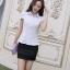 เสื้อเชิ๊ตทำงานผู้หญิง สีขาว คอปก แขนสั้น กระดุมผ่าหน้า ด้านหน้าผ้าลูกไม้ ด้านหลังเป็นผ้าชีฟอง thumbnail 3