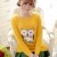 เสื้อกันหนาวแฟชั่นเกาหลี สีเหลือง คอกลม แขนยาว ลายนกฮูก ผ้าไหมพรมมีขน เนื้อผ้านุ่มใส่สบาย thumbnail 1