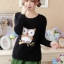 เสื้อไหมพรมกันหนาวแฟชั่นเกาหลี สีดำ คอกลม แขนยาว ลายนกฮูก ผ้าไหมพรมมีขน เนื้อผ้านุ่มใส่สบาย