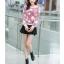 เสื้อแฟชั่นเกาหลีน่ารักๆ สีม่วง พิมพ์ลายเก๋ๆ ผ้าขนนุ่มสบาย คอกลม แขนยาว เอวจั๊ม thumbnail 5