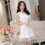 ชุดไปงานแต่งงานสวย น่ารัก สีขาว ผ้าซีทรูซับในด้วยผ้าไหมเกาหลี คอลูกไม้ แขนกุด ด้านหลังผูกโบว์สวยเก๋ๆ เอวเข้ารูป ซิปข้าง ขนาดไซส์ M thumbnail 9