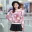 เสื้อแฟชั่นเกาหลีน่ารักๆ สีม่วง พิมพ์ลายเก๋ๆ ผ้าขนนุ่มสบาย คอกลม แขนยาว เอวจั๊ม thumbnail 1