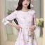 ชุดเดรสทำงานแนวหวานแฟชั่นเกาหลี สีชมพู พิมพ์ลายดอกไม้ ผ้าโพลีเอสเตอร์เนื้อผ้าหนา แขนยาว กระโปรงจีบทวิส มีซิปข้าง thumbnail 4