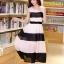 ชุดเดรสยาวแฟชั่นเกาหลี สีขาว-ดำ ผ้าชีฟอง คอกลม แขนกุด เอวยืด ซับใน ขนาดไซส์ L thumbnail 5