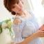 ชุดเดรสสั้นเกาหลีน่ารักลายตาราง สีฟ้าขาว สายเย็บระบายยืดได้ แขนจั๊มแบบแขนตุ๊กตา เอวสม๊อก ผ้าโพลีเอสเตอร์ thumbnail 20