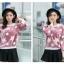 เสื้อแฟชั่นเกาหลีน่ารักๆ สีม่วง พิมพ์ลายเก๋ๆ ผ้าขนนุ่มสบาย คอกลม แขนยาว เอวจั๊ม thumbnail 3