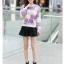 เสื้อแฟชั่นเกาหลีน่ารักๆ สีฟ้า ม้วง พิมพ์ลายเก๋ๆ ผ้าขนนุ่มสบาย คอกลม แขนยาว เอวจั๊ม thumbnail 4