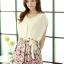 ชุดเดรสสั้นแฟชั่นเกาหลี สีเบจ กระโปรงลายดอกไม้สดใส เอวยืด มีสายผูกเอวน่ารักเก๋ๆ ผ้าชีฟอง ซับใน thumbnail 1
