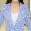 เสื้อสูททำงานผู้หญิง สีน้ำเงิน ลายน่ารักๆ คอปก แขนยาว กระดุม 1 เม็ด ผ้าคอลตอล thumbnail 9